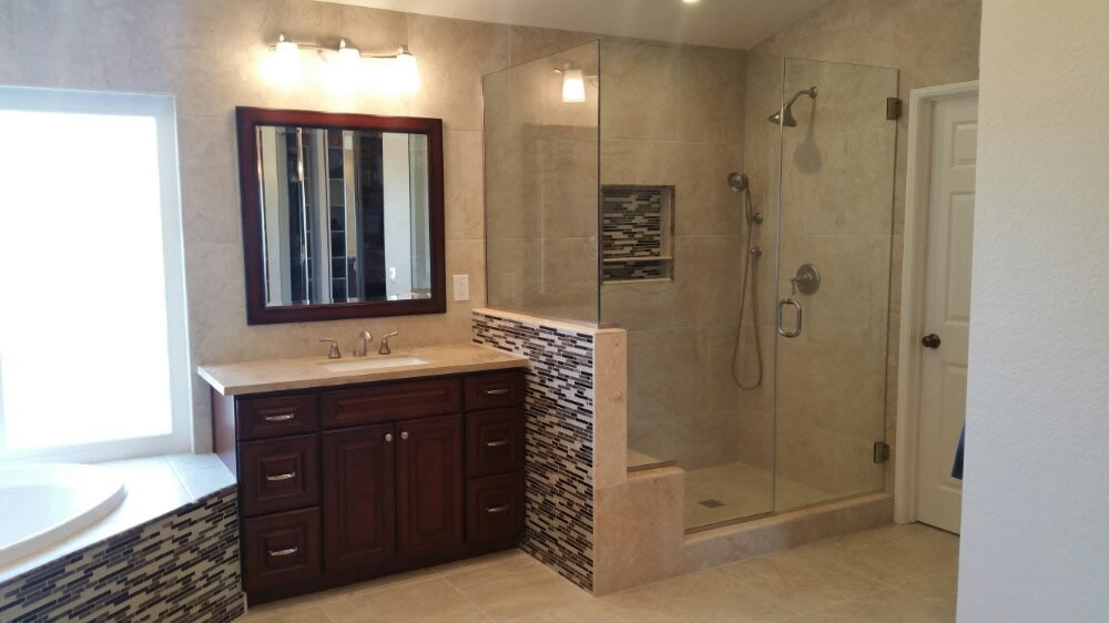 Bathroom remodeling, Cabinets, Vanity, Flooring and Jacuzzi in Walnut, California